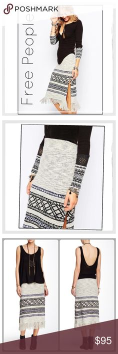 """🎉HP🎉✨Free People Fringed Sweater Skirt✨ ✨Free People Ribbed Fringed Sweater Skirt is a soft knit skirt enlivened with playful fringe✨The skirt is styled with a high waist and fluttery fringe to envelop you in the cozy manner of your favorite blanket.✨A two-toned pattern lends global-inspired flair, while side slits provide breezy ease✨About 29"""" Long with 4"""" Fringe Layer✨Cotton/acrylic/polyester/nylon/spandex✨Size Medium ✨Looks Amazing With Tall Boots And a Free People thermal with…"""
