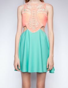 Coral and teal cutout dress