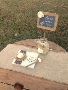 Rustic Wedding Guestbook - Burlap Wedding Guestbook and Matching Sola Flower Pen AND Chalkboard Mason Jar Photo Prop - Shabby Chic Wedding via Etsy