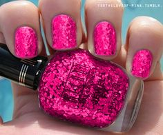 hot pink & sparkle nail polish...oh my gosh...i need this right now
