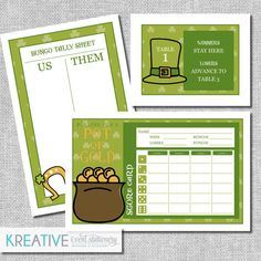 St. Patricks Day Bunco Score Card Set  Pot of Gold  by kreativees
