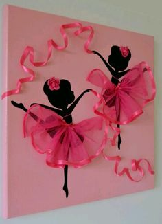 DIY Tutu Ballerina Canvas Wall Art Tutorial, with ribbons, canvas, and a ballerina template. great for girl room decoration or gift delivery Kids Crafts, Diy And Crafts, Arts And Crafts, Paper Crafts, Art Crafts, Summer Crafts, Art Mural Rose, Art Projects, Projects To Try