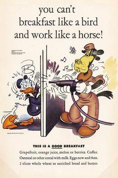 "Walt Disney Studios - ""Eat Well, Work Hard,"" Donald Duck and Horace Horsecollar Poster (1943)"