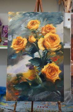 Yellow roses..oil painting #OilPaintingFlowers