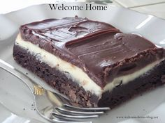 Welcome Home Blog: ♥ Cream Cheese Brownies with Ganache