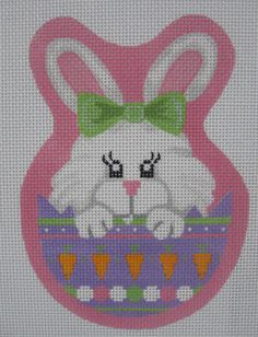 Handpainted Needlepoint Canvas Pepperberry Peeking Easter Bunny EA10 #PepperberryDesigns