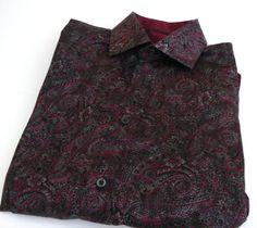 Saks Fifth Avenue Paisley Long Sleeve Button Front Shirt 100% Cotton Sz Medium M #SaksFifthAvenue #ButtonFront