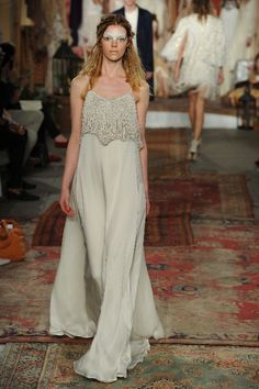 JANISA silk gown w/ embroidered flowers and stones, beads
