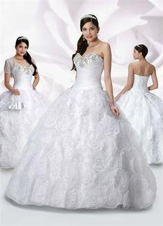 Ball Gown Sweetheart Neckline Floor-length Organaza quniceanera dress QD101