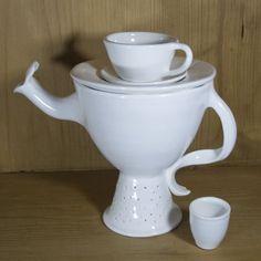 Whimsical White Teapot with Mini Tea Cups