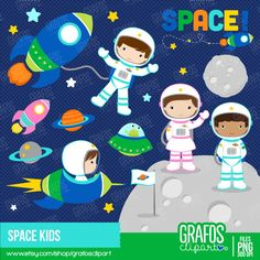 SPACE KIDS - Digital Clipart Set, Space Clipart, Astronauts Clipart, Spaceship cliparts. by GRAFOSclipart on Etsy https://www.etsy.com/uk/listing/241841795/space-kids-digital-clipart-set-space