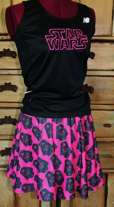 Complete Star Wars Darth Vader Running outfit tank singlet skirt Muffin top free disney half marathon vacation comic con s m l xl 2xl on Etsy, $75.00