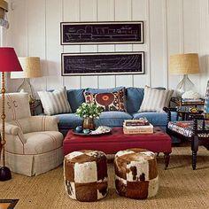 Eclectic Newport Beach, CA, living room