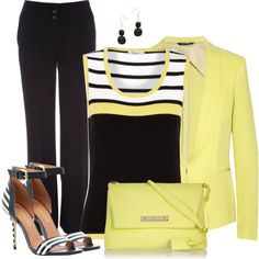 B Stripe w/Yellow, created by cnh92 on Polyvore