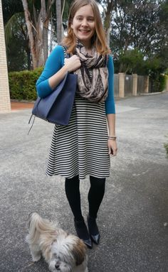 winter black white striped fit and flare dress layered with bright blue tee office wear Office Outfits Women, Work Outfits, Cute Outfits, Dressy Skirts, Tight Dresses, Fit N Flare Dress, Fit And Flare, Winter Tights, Corporate Style