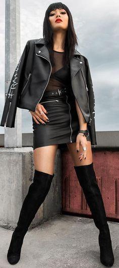Rebel Rocker Black Head To Toe Fall Street Style Inspo by Micah Gianneli