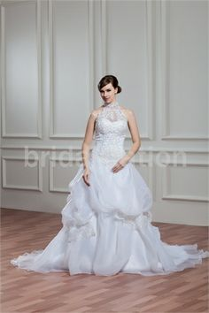 White Satin/Organza Court Train Halter A-line Wedding Dress