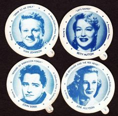 Dixie Cup Ice Cream | 1950 Dixie Hoodsie Cup Ice Cream Lid Caps of 4 Movie Stars June ...