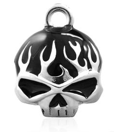 HARLEY DAVIDSON FULL WILLIE G SKULL FLAMES RIDE BELL