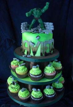 Hulk Cake and Cupcake Tower