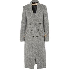 Burberry Double-breasted herringbone tweed coat ($1,595) ❤ liked on Polyvore featuring outerwear, coats, burberry, jackets, dark gray, herringbone tweed coat, herringbone coat, button coat and tweed wool coat