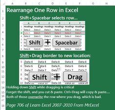 Excel - Rearrange one Row