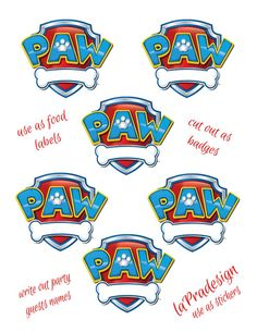 paw+patrol | Paw Patrol Birthday Party Badge PDF file by laPradesign on Etsy, $3.00