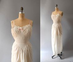 s a l e 1940s Gown / Ribbon Nightgown / 40s