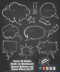 Chalkboard Speech Balloon Set #GraphicRiver