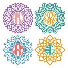 Mandala Circle Cuttable Monogram Design SVG DXF EPS by CuttableArt