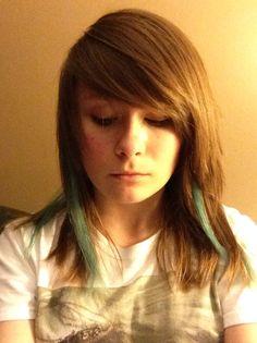 Blue streaks in light brown hair, short, choppy, scene, it's meh