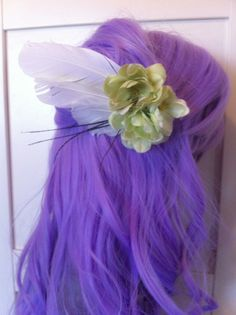 Faux flower with cruelty free white feathers Hair accessory bridal pinup with alligator clip on felt handmade wing clip angel clip 6wx3h via Etsy