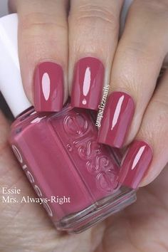 I have the beautiful Essie Mrs. Always-Right to share with you today. I have the beautiful Essie Mrs. Always-Right to share with you today. I have the beautiful Essie Mrs. Always-Right to share with you today. Essie Nail Colors, Toe Nail Color, Essie Nail Polish, Nail Polish Colors, Manicure And Pedicure, Pink Nails, Pink Nail Colors, Fall Nail Polish, Pedicures