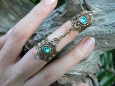 double armor ring chained ring Swarovski Turquoise knuckle ring claw ring nail tip ring vampire goth victorian goddess pagan boho gypsy