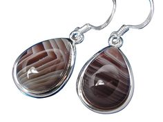 Sterling Silver 10x14mm Teardrop Botswana Agate Drop Earrings
