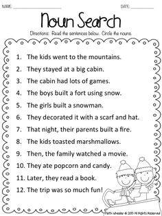 Worksheets Printable Noun Worksheets nouns test for 1st graders goes over various types of snow kids noun search freebie