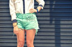 DIY studded and spiked shorts! - Mr. Kate DIY and video tutorial