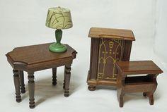 1940 Strombecker Walnut Wood Dollhouse Furniture Living Room Table Radio Lamp   eBay