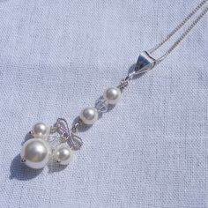 Sterling Silver Drop Pendant & Chain with Crystal Pearl & Swarovski Elements £26.75