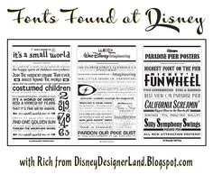Fonts Found at the Disney Parks: lots of resources and fonts revealed!
