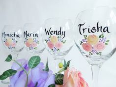 """Hand Painted Bridesmaid Wine Glasses - """"PICK YOUR FLOWERS"""" - Bridesmaid Wine Glasses - Bachelorette Party Wine Glasses by samdesigns22 on Etsy"""