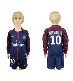 Paris Saint-Germain Neymar Jr Home Long Sleeves Kid Soccer Club Jersey Neymar Jr, Maillot Paris Saint Germain, Psg, Kids Soccer, Motorcycle Jacket, Saints, Youth, Jackets, Shopping