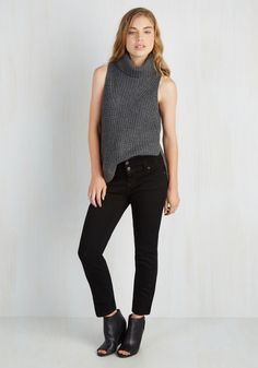 Night After Nightlife Jeans. Its girls night out and youre looking your best by flaunting your style savvy in these high-waisted jeans! #black #modcloth