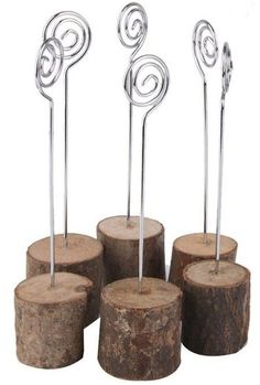 - Made of real wood and iron wire - Can be used for wedding place card holders, table numbers etc.