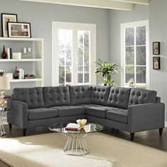 Modway Empress 3 Piece Fabric Sectional Sofa Set in Gray