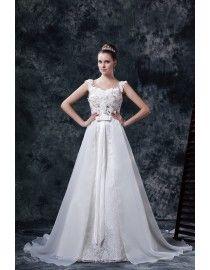 Lace strap sweetheart ace appliques swarovski sequins beaded floral embellishment court train wedding dresses  5w-194