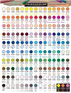 Official Prismacolor Pencils 150 Color Chart
