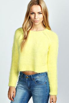 Katie Crop Knit Fluffy Jumper at boohoo.com