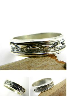 Men's Silver Ring Band organic sterling silver by nikiforosnelly
