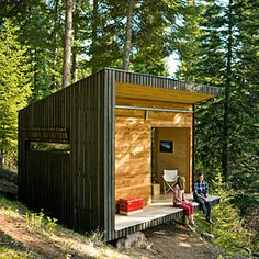 Must do this for a vacation home! DIY cabin in the woods | DIY small cabin retreat: $57K, including the land | Sunset.com